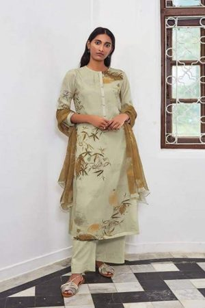 Sahiba Sarg Presents Leaf Age Cotton Silk Digital Print With Handwork Salwar Kameez 911