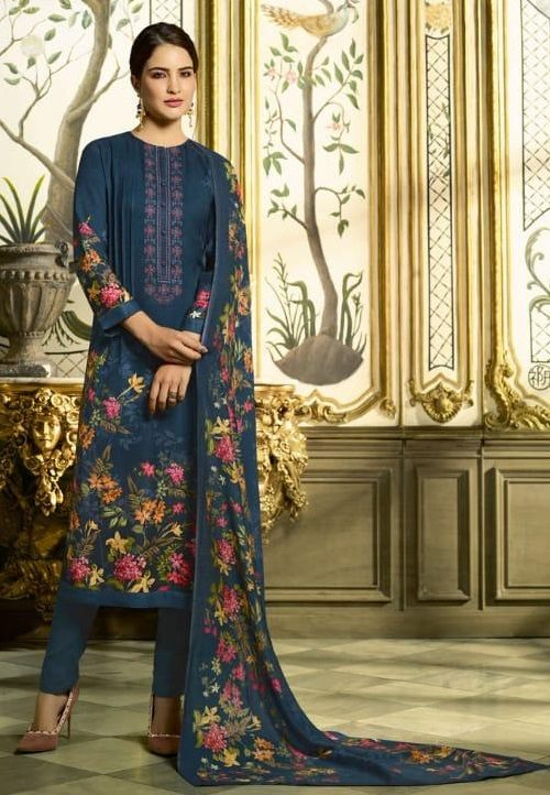 Sahiba Sudriti Peony Pashmina Twill Digital Print With Embroidery Salwar Suit 502