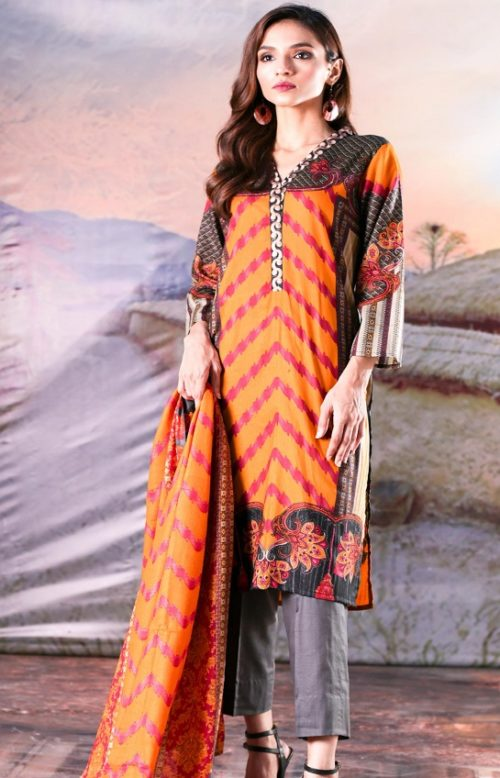 Sahil Printed Cotton Collection 2019 With Printed Lawn Dupatta and Dyed Trouser Original Pakistani Suits 05