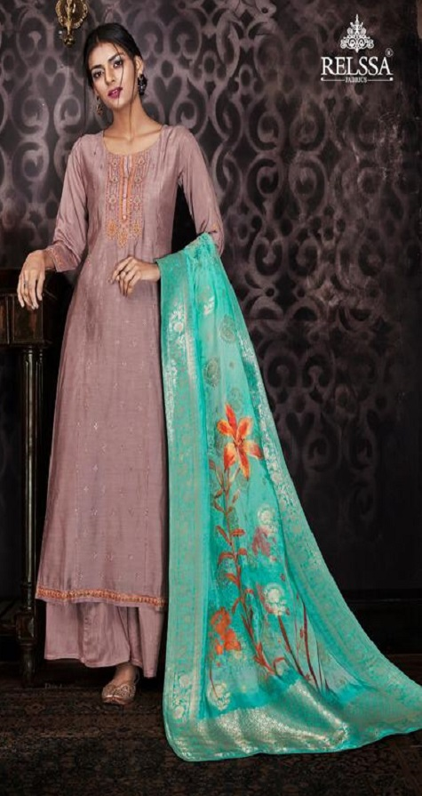 Sajjan Relssa Fabrics Presents Kajal Muslin Cotton With Embroidery Salwar Suit 15002