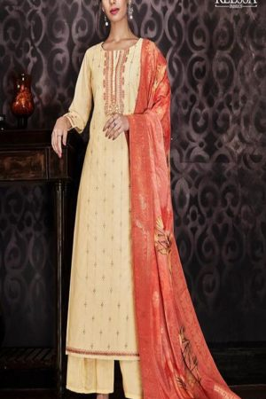 Sajjan Relssa Fabrics Presents Kajal Muslin Cotton With Embroidery Salwar Suit 15003