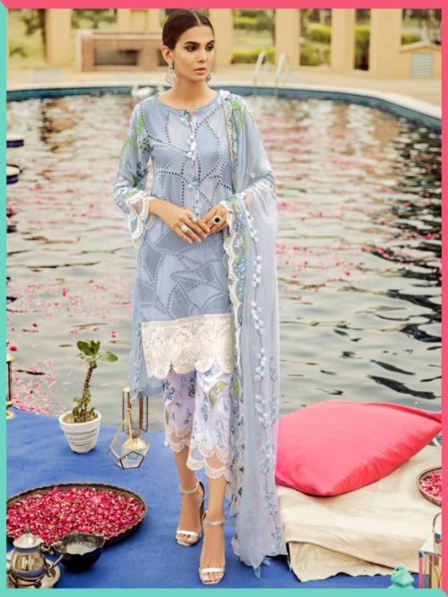 Saniya Trendz Charizma 19 Gold Pure Cambric Cotton With Chicken Work and Embroidery Salwar Suits 5001