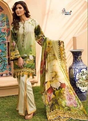 Shree Fabs Firdous Exclusive Collection Vol 3 Pure Cotton Print With Heavy Embroidery Salwar Suit 6173