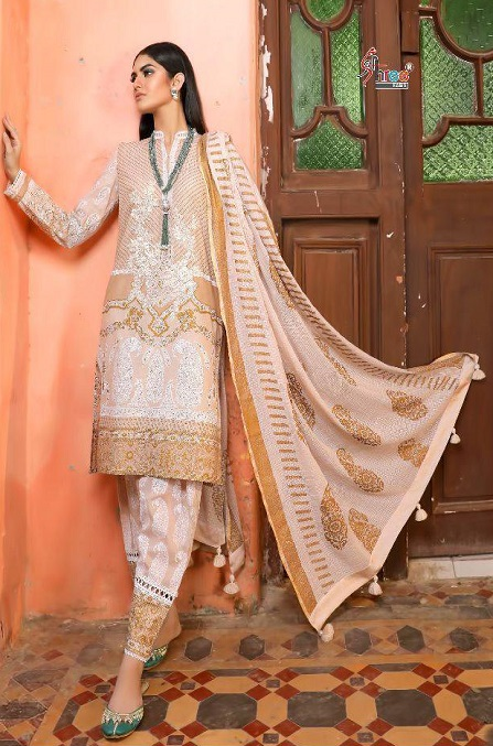 Shree Fabs Sana Safinaz Exclusive Collection Pure Cotton With Print Gold Foil and Embroidery Work Suit 5126