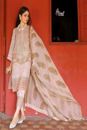 Shree Fabs Sana Safinaz Exclusive Collection Pure Cotton With Print Gold Foil and Embroidery Work Suits 5121