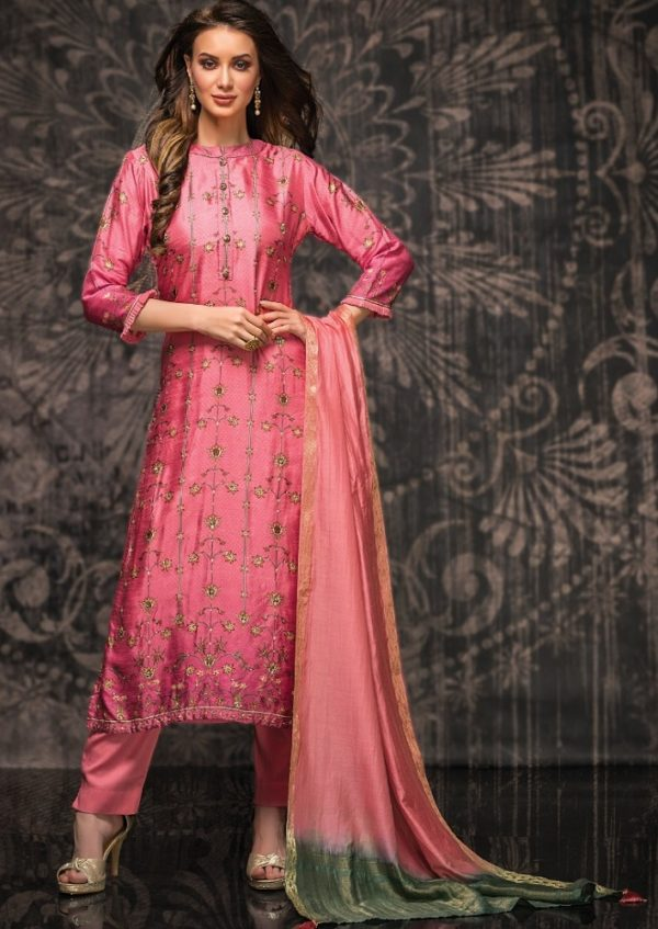 Tacfab Presents Naariti Nabiha Green Silk Digital Print With Handwork Salwar Suit 2322