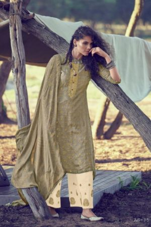 Varsha Fashions Presents A Special Art Pure Russian Silk Weaving With Bandhani Print and Embroidery Suit AS-35