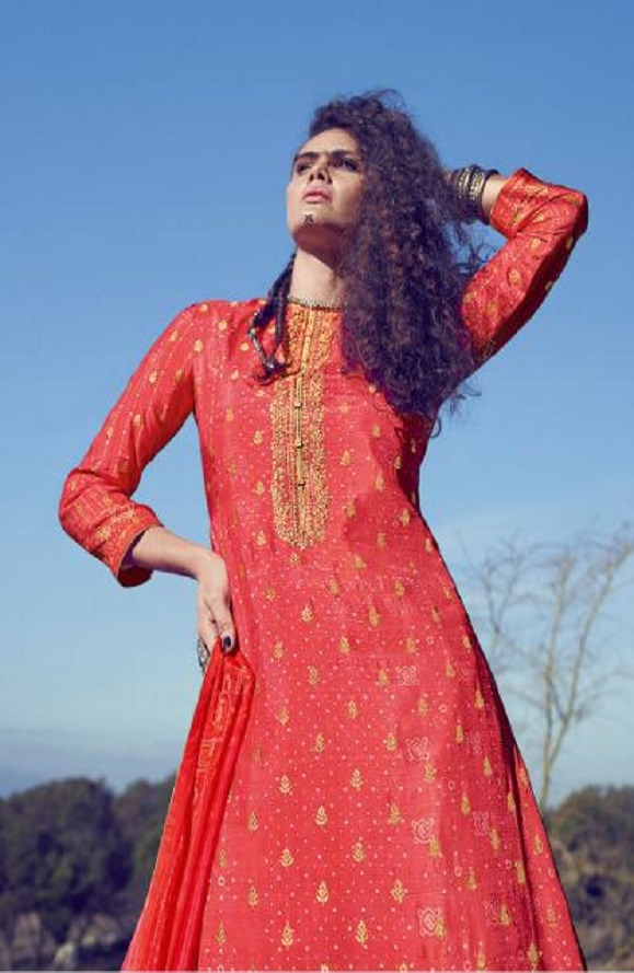 Varsha Fashions Presents A Special Art Pure Russian Silk Weaving With Bandhani Print and Embroidery Suits AS-32