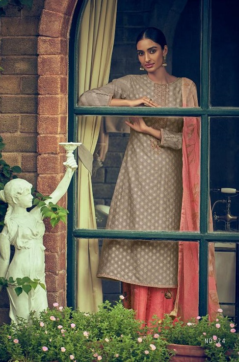 Varsha Fashions Presents Nividha Banarsi Weave Self Fabric With Lining and Embroidery Salwar Suit ND-24