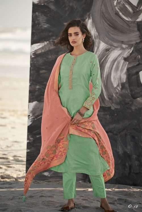 Varsha Fashions Presents Ora Munga Silk With Embroidery Salwar Suit O-12
