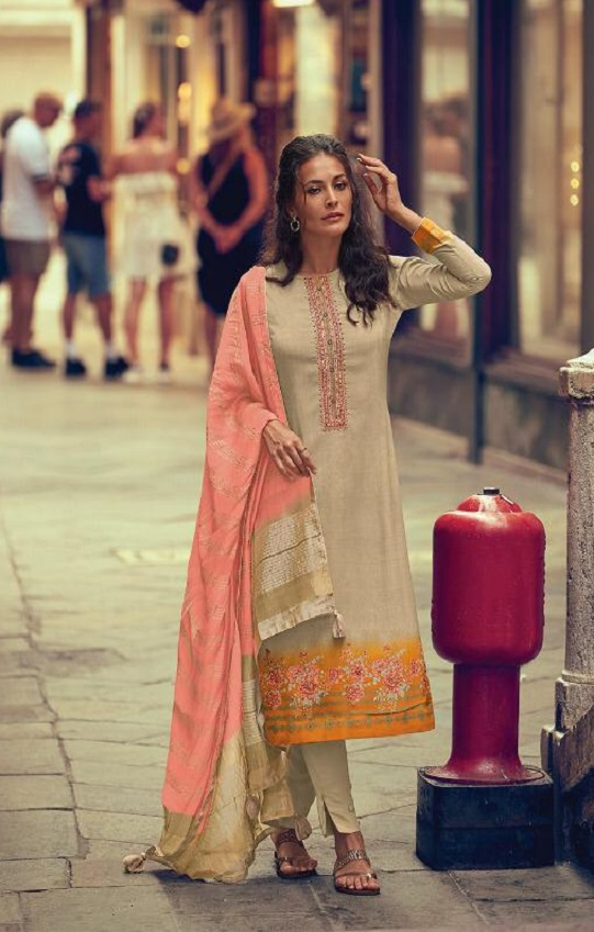 Varsha Fashions Presents Viona Crepe Printed With Embroidery Salwar Suit V-33
