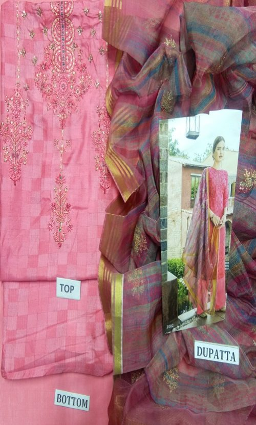 Vidhushi Suits Presents Rowena Dola Silk With Digital Print Embroidery and Handwork Salwar Suit 1002
