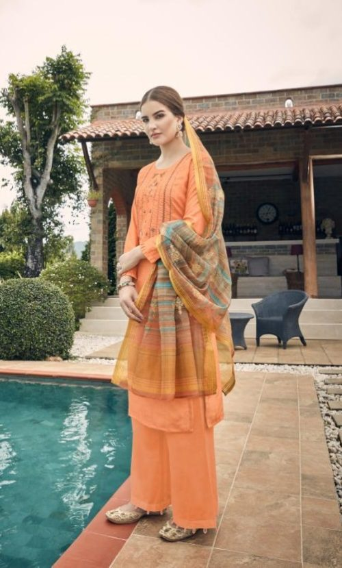 Vidhushi Suits Presents Rowena Dola Silk With Digital Print Embroidery and Khat Handwork Salwar Suit 1001