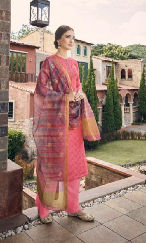Vidhushi Suits Presents Rowena Dola Silk With Digital Print Embroidery and Khat Handwork Salwar Suit 1002