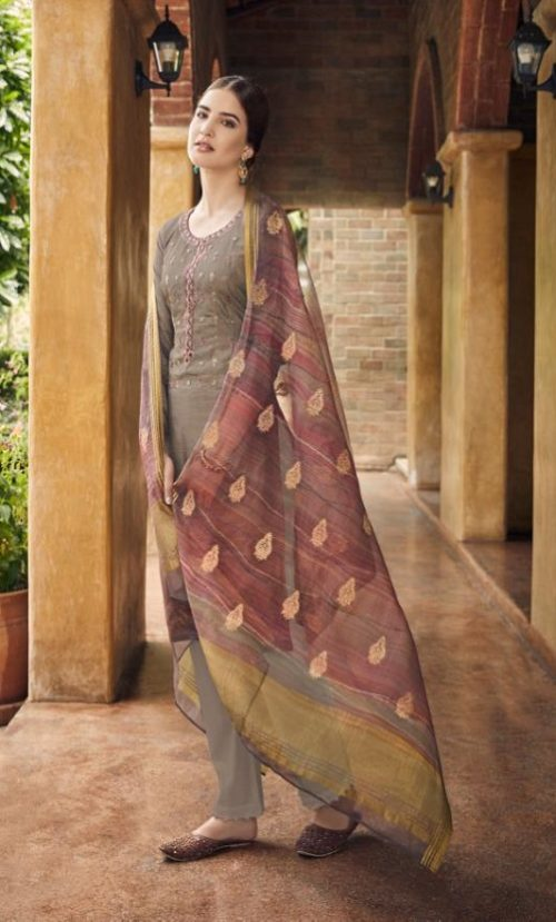 Vidhushi Suits Presents Rowena Dola Silk With Digital Print Embroidery and Khat Handwork Salwar Suit 1004