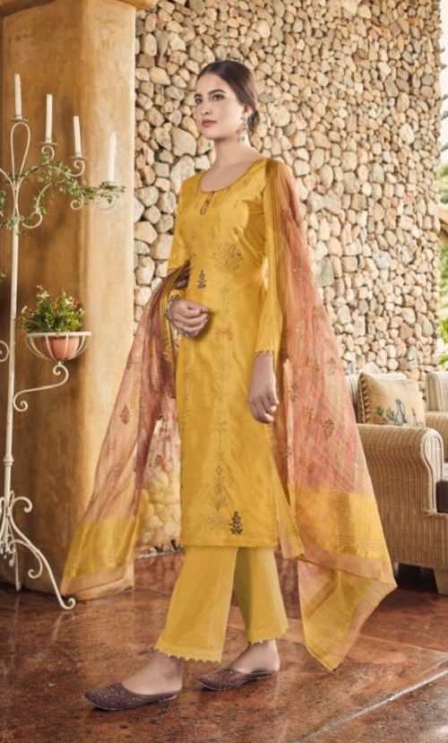 Vidhushi Suits Presents Rowena Dola Silk With Digital Print Embroidery and Khat Handwork Salwar Suit 1005