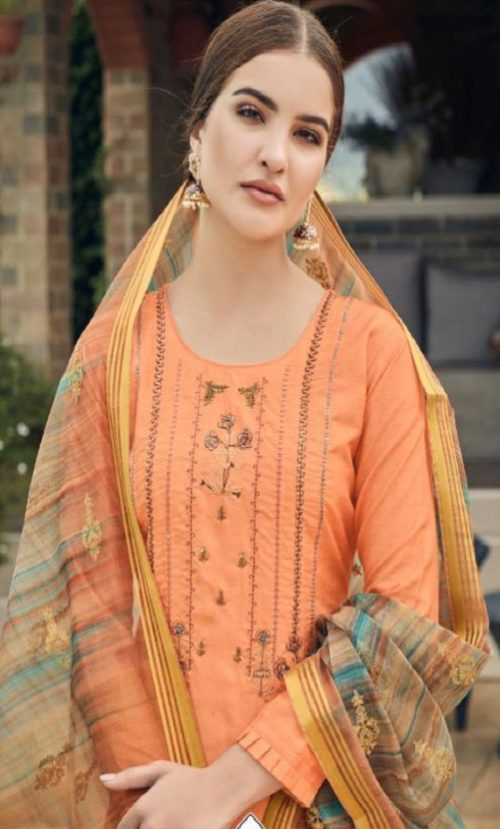 Vidhushi Suits Presents Rowena Dola Silk With Digital Print Embroidery and Khat Handwork Salwar Suits 1001