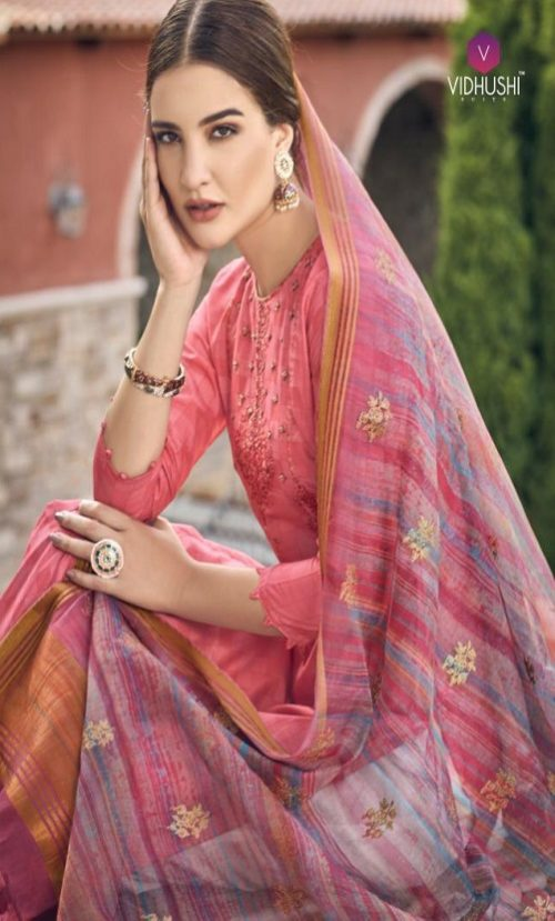 Vidhushi Suits Presents Rowena Dola Silk With Digital Print Embroidery and Khat Handwork Salwar Suits 1002
