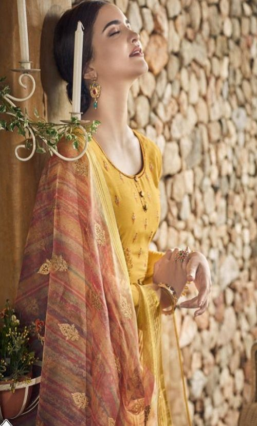 Vidhushi Suits Presents Rowena Dola Silk With Digital Print Embroidery and Khat Handwork Salwar Suits 1005