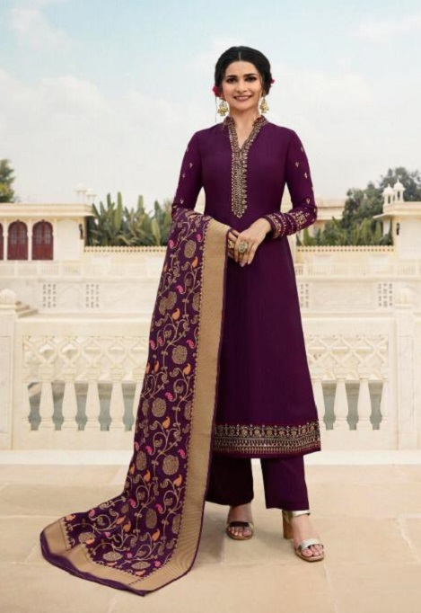 Vinay Fashion Presents Kaseesh Banaras 4 Satin With Embroidery and Work Designer Suit 11132