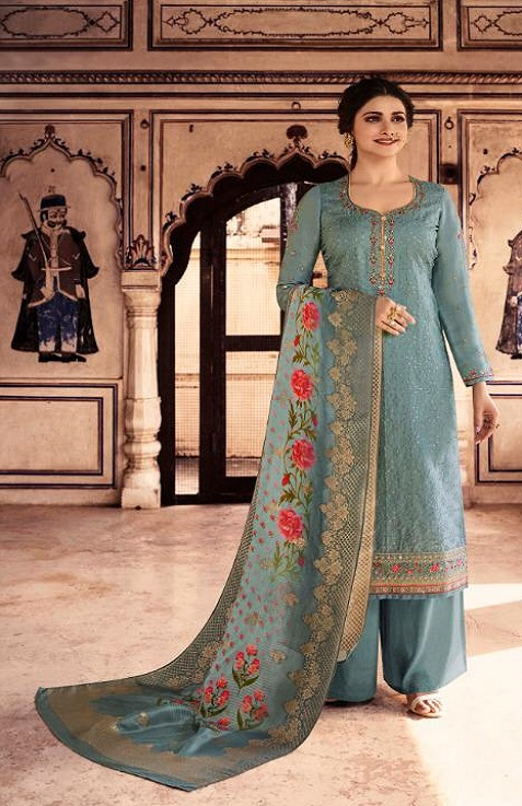 Vinay Fashion Presents Tradition Tusser Silk With Work Partywear Suit 10955