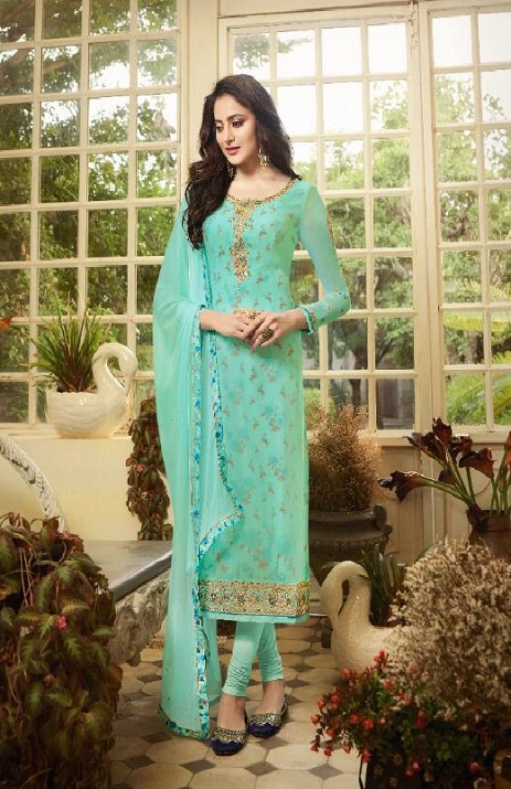 Zisa Vol 61 Georgette With Embroidery Partywear Churidar Suit 11093