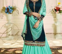 Zubeda Aashka Satin Georgette With Embroidery Work Party Wear Sharara Suit 16505