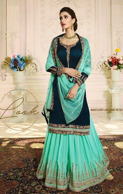 Zubeda Aashka Satin Georgette With Embroidery Work Party Wear Suit 16505