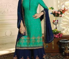 Zubeda Aashka Satin Georgette With Embroidery Work Party Wear Sharara Suit 16507