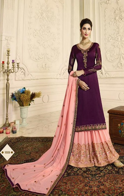 Zubeda Aashka Satin Georgette With Embroidery Work Party Wear Suits 16506