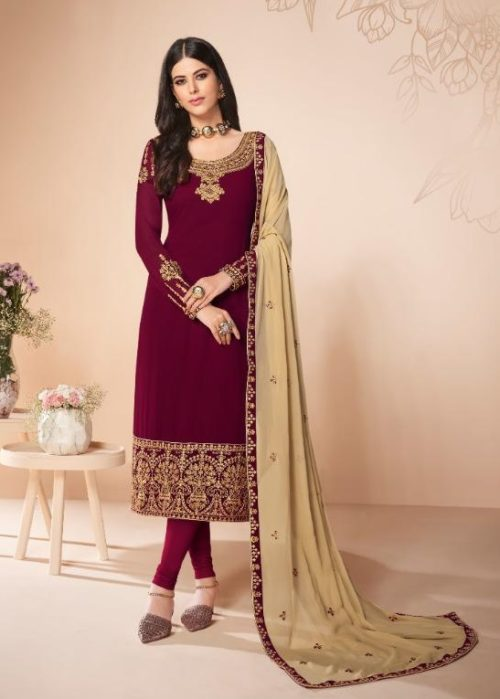 Aashirwad Presents Cross Stitch Real Georgette With Embroidery and Work Designer Suit 7054
