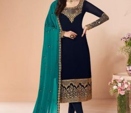 Aashirwad Presents Mor Bagh Cross Stitch Real Georgette With Embroidery and Work Designer Suit 7056