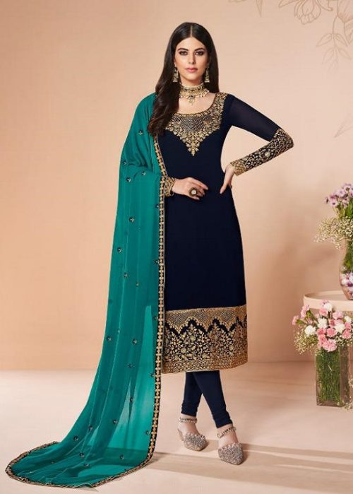 Aashirwad Presents Cross Stitch Real Georgette With Embroidery and Work Designer Suit 7056