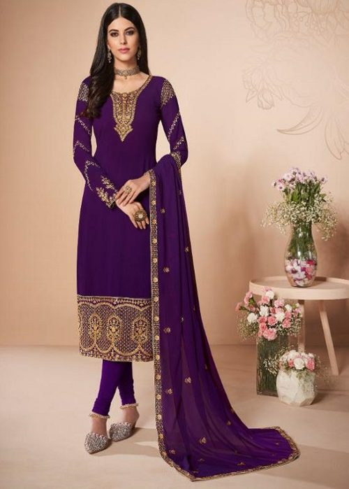 Aashirwad Presents Cross Stitch Real Georgette With Embroidery and Work Designer Suit 7057