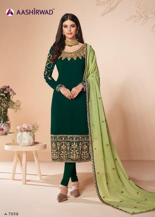 Aashirwad Presents Cross Stitch Real Georgette With Embroidery and Work Designer Suit 7058