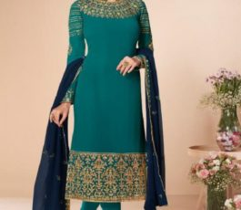 Aashirwad Presents Mor Bagh Cross Stitch Real Georgette With Embroidery and Work Designer Suit 7059