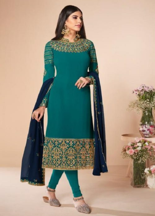 Aashirwad Presents Cross Stitch Real Georgette With Embroidery and Work Designer Suit 7059