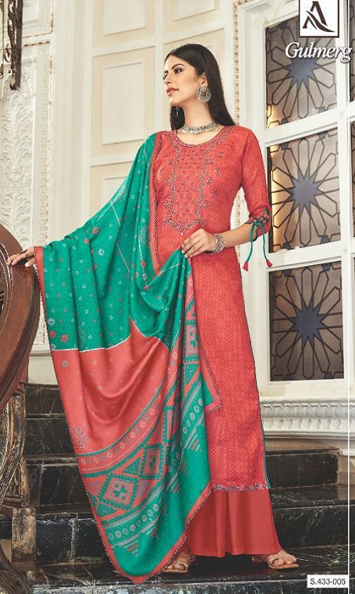Alok Suit Presents Gulmarg Wool Pashmina Self Print With Embroidery Salwar Suits 433-005