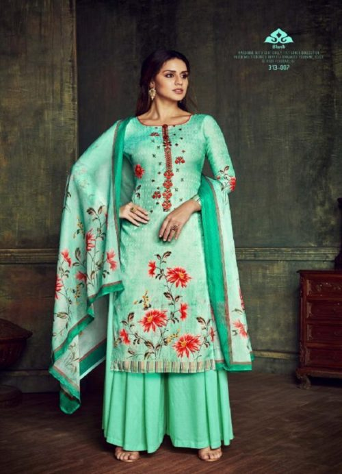 Belliza Designer Studio presents pure Dupatta Collection 100% pure Pashmina Digital Print With Fancy Embroidery Work Suits 313-007