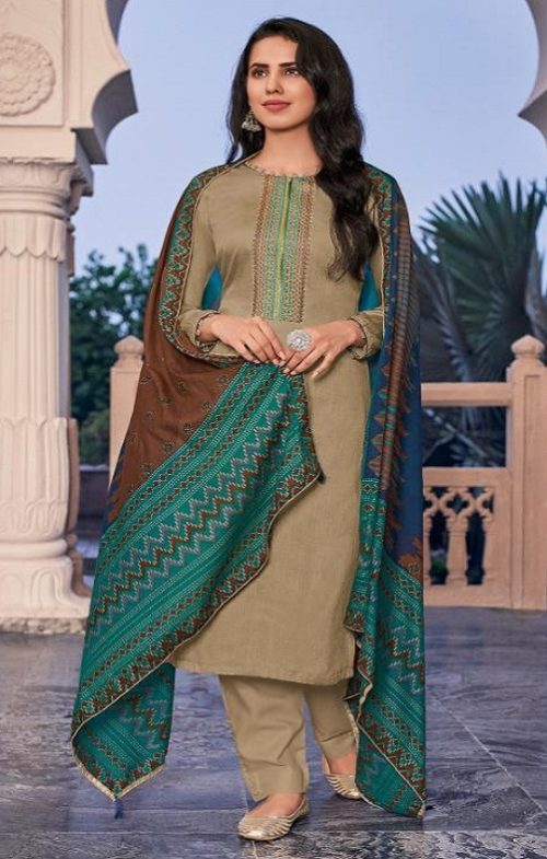 Deepsy Panghat 5 Pure Pashmina Print With Self Embroidery Unstitched Winter Salwar Suit 46007