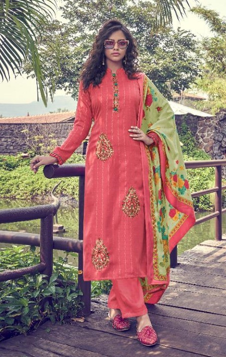 Deepsy Suits Presents Pakija Pure Pashmina Foil Print With Heavy Self Embroidery Suits 1003