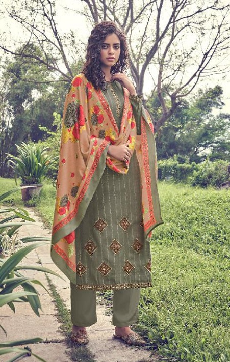 Deepsy Suits Presents Pakija Pure Pashmina Foil Print With Heavy Self Embroidery Suits 1004
