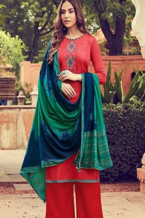 Deepsy Suits Presents Panghat 6 Pure Jam Silk Cotton Print With Heavy Self Embroidery Salwar Suit 51005
