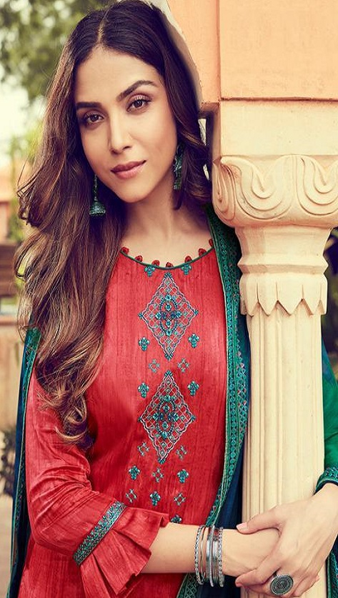 Deepsy Suits Presents Panghat 6 Pure Jam Silk Cotton Print With Heavy Self Embroidery Salwar Suits 51005