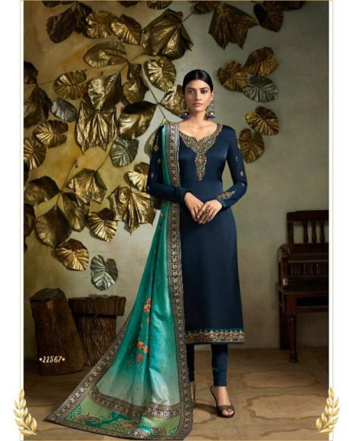 Fiona Presents Kavya Digital Dupatta Satin Georgette With Embroidery Salwar suit 22567