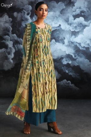 Ganga Nila Pure Wool Dobby Pashmina Printed With Hand Embroidery and Sarvoski Work Salwar Suit 8119