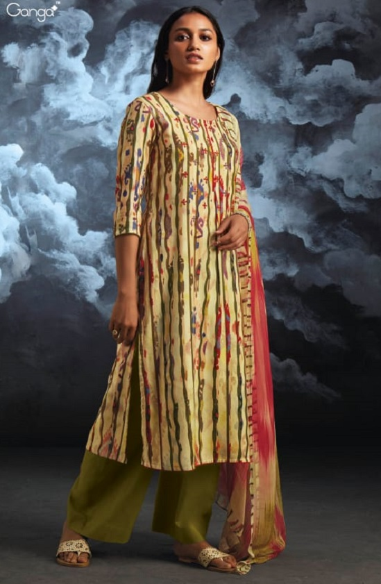 Ganga Nila Pure Wool Dobby Pashmina Printed With Hand Embroidery and Sarvoski Work Salwar Suit 8125