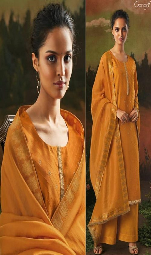 Ganga Presents Aani Bemberg Silk Solid With Heavy Embroidery and Jari Lace Border Salwar Suit 8317