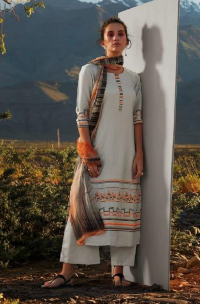 Ganga Presents All hues Wool Dobby Printed With Embroidery and Button Work Winter Suits 8111