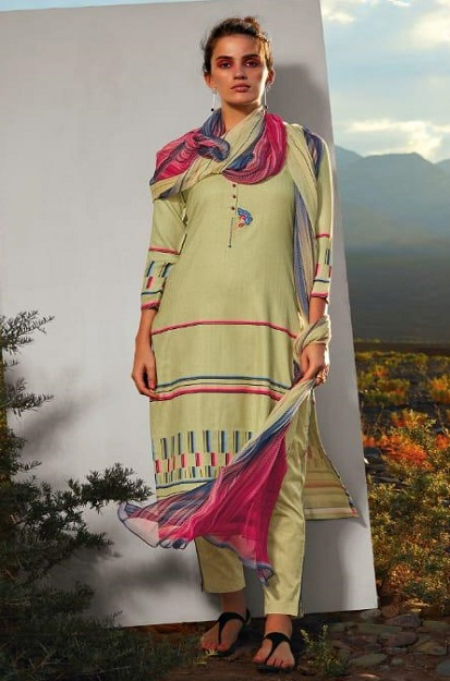 Ganga Presents All hues Wool Dobby Printed With Embroidery and Button Work Winter Suits 8112